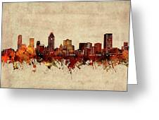 Montreal Skyline Sepia Greeting Card