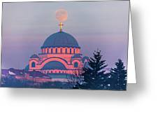 Moon On Top Of The Cross Of The Magnificent St. Sava Temple In Belgrade Greeting Card