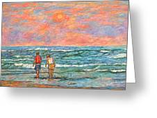 Morning Stroll At Isle Of Palms Greeting Card