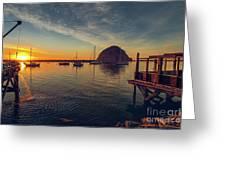 Morro Bay Harbor Sunset Greeting Card