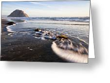Morro Rock Ebb Tide Greeting Card by Mike Long