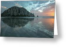 Morro Rock Sunset Greeting Card by Mike Long