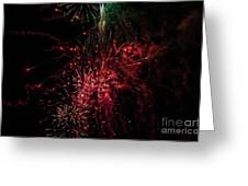 Mostly Red And White Fireworks Greeting Card
