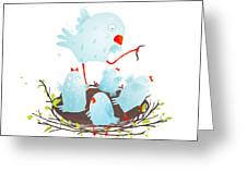 Mother Bird In Nest Feeding Her Babies Greeting Card