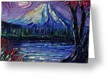 Mount Fuji - Textural Impressionist Palette Knife Impasto Oil Painting Mona Edulesco Greeting Card