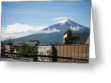 Mount Fuyji From A Distance With Clouds Around It Greeting Card