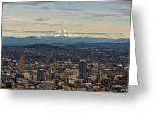 Mount Hood View Over Portland Cityscape Greeting Card