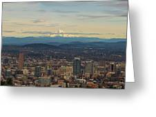Mount Hood View Over Portland Cityscape Panorama Greeting Card
