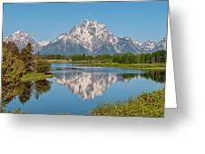 Mount Moran On Snake River Landscape Greeting Card