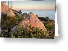 Mount Woodson Rock An Clouds Greeting Card