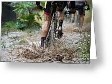 Mountain Bikers Driving In Rain Greeting Card