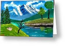 Mountain By The Lake Greeting Card