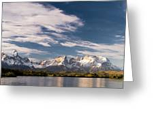 Mountain Range At Sunset Seen From Rio Greeting Card