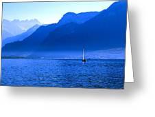 Mountains Across Lake Geneva Greeting Card by Jeremy Hayden