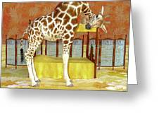 Ms Kitty And Her Giraffe  Greeting Card