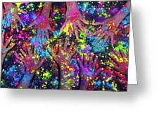 Multicoloured Powder Hands Panoramic Greeting Card