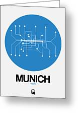 Munich Blue Subway Map Greeting Card