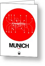 Munich Red Subway Map Greeting Card