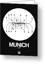Munich White Subway Map Greeting Card