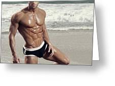 Muscular Model On Beach Greeting Card