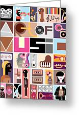 Musical Collage Of Various Images - Greeting Card