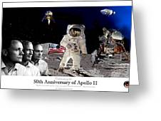 Nasa 50th Anniversary Of The Apollo 11 Lunar Landing By Artist Todd Krasovetz Greeting Card