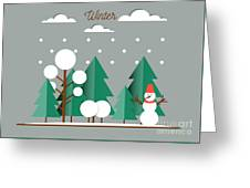 Nature, Winter Landscape With Christmas Greeting Card
