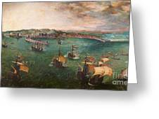 Naval Battle In The Gulf Of Naples Greeting Card