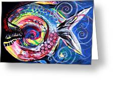 Neon Piranha Greeting Card
