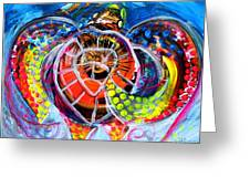 Neon Sea Turtle Wake And Drag Greeting Card