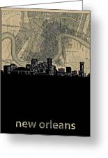 New Orleans Skyline Map Greeting Card