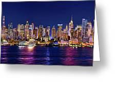 New York City Nyc Midtown Manhattan At Night Greeting Card
