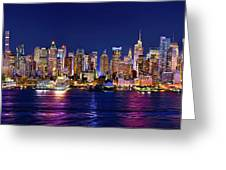 New York City Nyc Midtown Manhattan At Night Greeting Card