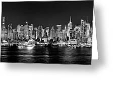 New York City Nyc Skyline Midtown Manhattan At Night Black And White Greeting Card