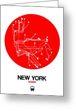 New York Red Subway Map Greeting Card