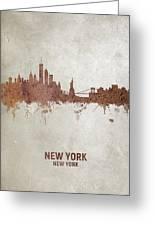 New York Rust Skyline Greeting Card
