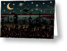 Night Scene Illustration With Ufo Greeting Card