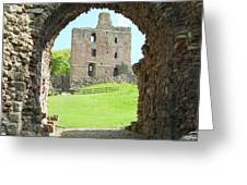 Norham Castle And Tower Through The Entrance Gate Greeting Card