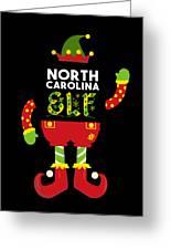 North Carolina Elf Xmas Elf Santa Helper Christmas Greeting Card