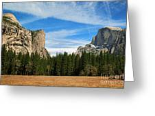 North Dome And Half Dome, Yosemite National Park Greeting Card