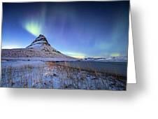 Northern Lights Atop Kirkjufell Iceland Greeting Card by Nathan Bush