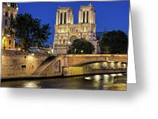 Notre Dame Cathedral Evening Greeting Card by Jemmy Archer