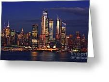 Nyc Sundown Gold And Twilight Skies Greeting Card