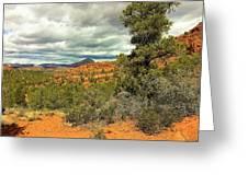 Oak Creek Baldwin Trail Blue Sky Clouds Red Rocks Scrub Vegetation Tree 0249 Greeting Card