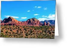 Oak Creek Jack's Canyon Blue Sky Clouds Red Rock 0228 3 Greeting Card