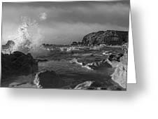 Ocean Splash In Black And White Greeting Card