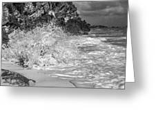 Ocean Wave Splash In Black And White Greeting Card