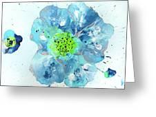 Oceanbreeze Blue-green Windflower Greeting Card