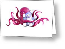 Octopus Pink With Bear Greeting Card