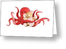 Octopus Red With Bear Greeting Card